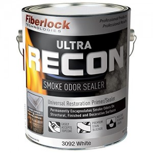Fiberlock ULTRA RECON Smoke Odor Sealer WHITE 1 Gallon - Universal Premium Restoration Stain Blocking Primer/Sealer