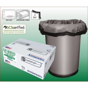 "38"" x 58"" LEED Certified Black Contractor Trash Bag, 3 Ply COEX w/ Star Sealed Bottom 100/case"