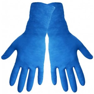 "Global Glove 805PF Nitrile Glove with Rolled Cuff, Disposable, Powder Free, 8 mils Thick, 11"" Length, Extra Large (Case of 500)"